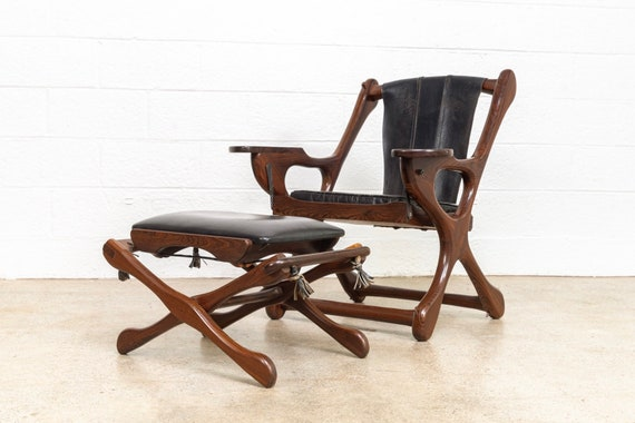 Brilliant Mid Century Chair Mid Century Mexican Modern Don Shoemaker For Senal Rosewood Black Leather Sling Swinger Chair With Ottoman Vintage Spiritservingveterans Wood Chair Design Ideas Spiritservingveteransorg