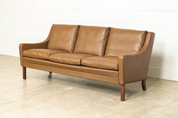 Fine Vintage Mid Century Danish Modern Brown Leather Three Seat Sofa Couch Made In Denmark 1960S Ncnpc Chair Design For Home Ncnpcorg