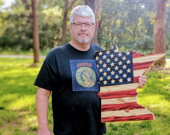 """Red, """"White"""" and Blue MN Chisel Texture Carved Wooden flag"""