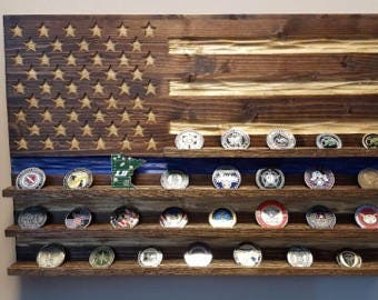 Thin Blue Line Challenge Coin Display Flag