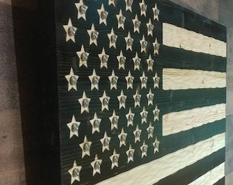 American Flag Wooden chiseled texture nickel plated ammo casings centered in all 50 start, subdued USA Flag. FREE Shipping. Made in USA