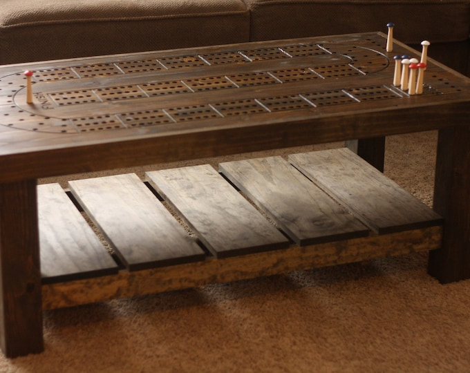 Cribbage Coffee Table, Rustic Style.