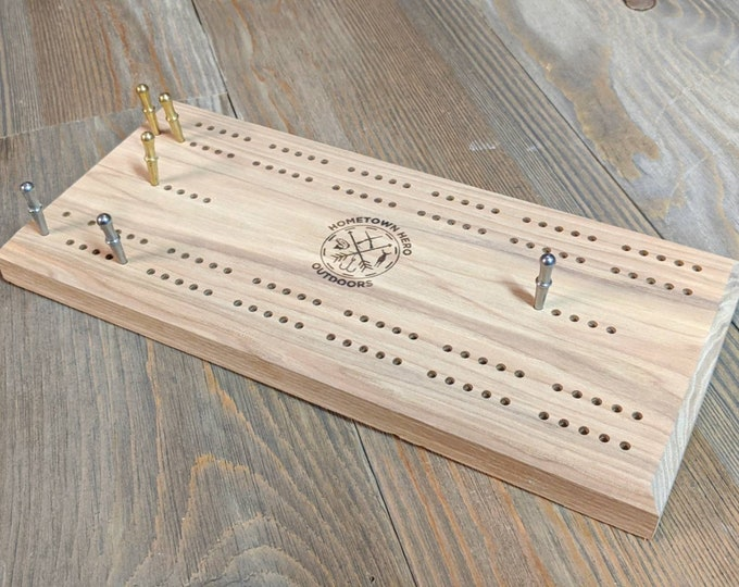 Cribbage board with your logo, text or other graphic of your choice.
