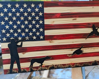 American USA Flag Chisel Texture carved with Pheasant Hunting scene and FREE Shipping.