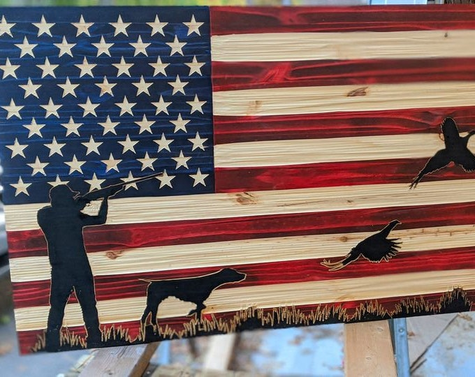 Ready to Ship: American USA Flag Chisel Texture carved with Pheasant Hunting scene and FREE Shipping.