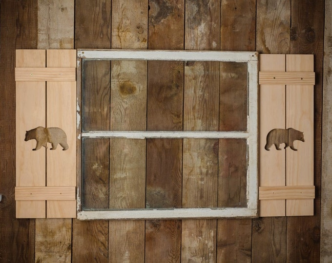 Exterior Bear Shutter made of Pine perfect for your Cabin, cottage, or beach house great rustic northwoods decor