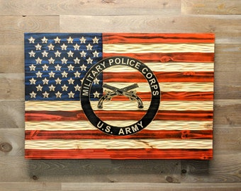 Wooden American/Military Police Corps Flag with chiseled texture, rustic USA Flag. Free Shipping. Veteran Made in USA
