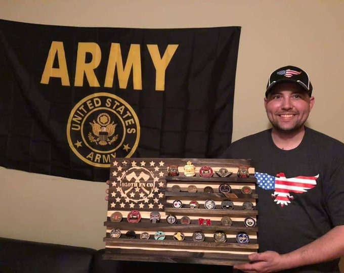 Rustic Flag Challenge Coin Display. Chiseled USA rustic flag. Veteran carved