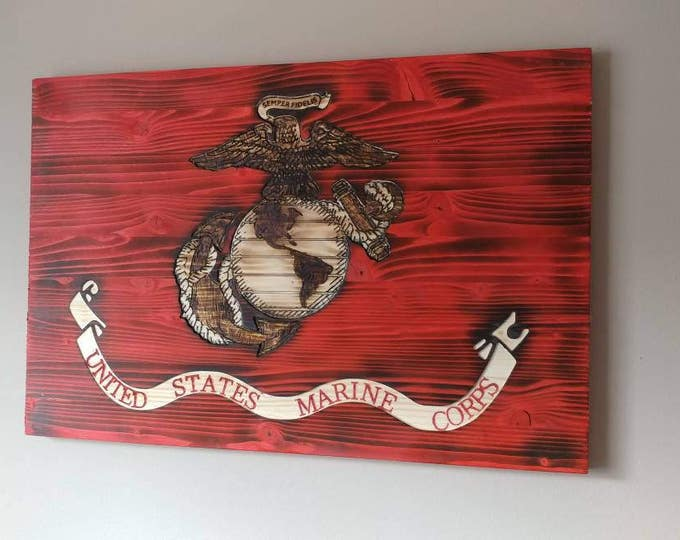 Carved wooden USMC Marine Corps Flag. Semper Fi. USA. FREE Shipping.