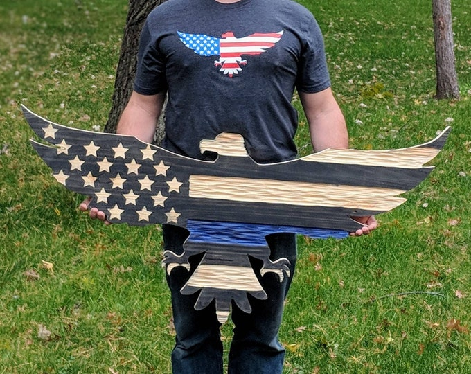 Thin Blue Line Carved wooden American flag eagle with unique chisel texture.