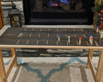 Cribbage Board Coffee Table with Cribbage wooden Pegs beautiful Cabin Furniture Oak or Pine
