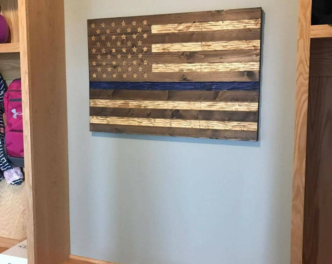 Police Thin Blue Line Chiseled USA rustic flag for Law Enforcement. FREE Shipping.