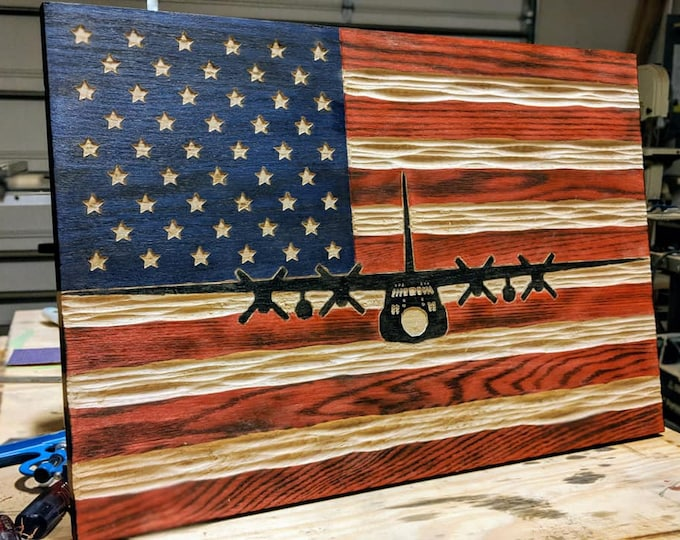 Custom Carved Flags with Military Aircraft, Tanks, Naval Ships, Helicopters etc. overlaid on Red, White and Blue