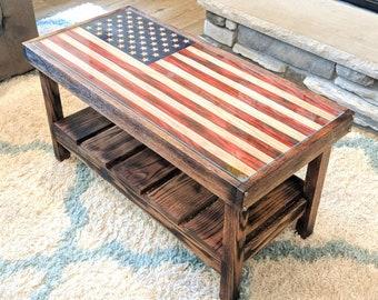 American Flag Table Solid Oak