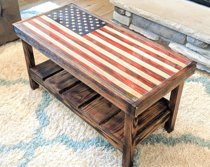 American Flag Coffee Table Solid Oak