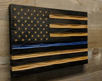 Thin Blue Line Police Flag, Carved wood american flag wall art, best selling items, police retirement gift, US flag oak wood, Veteran Made