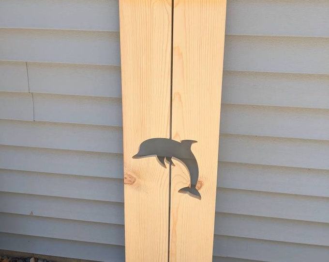 Exterior dolphin Shutter made of Pine perfect for your Cabin, cottage, or beach house decor