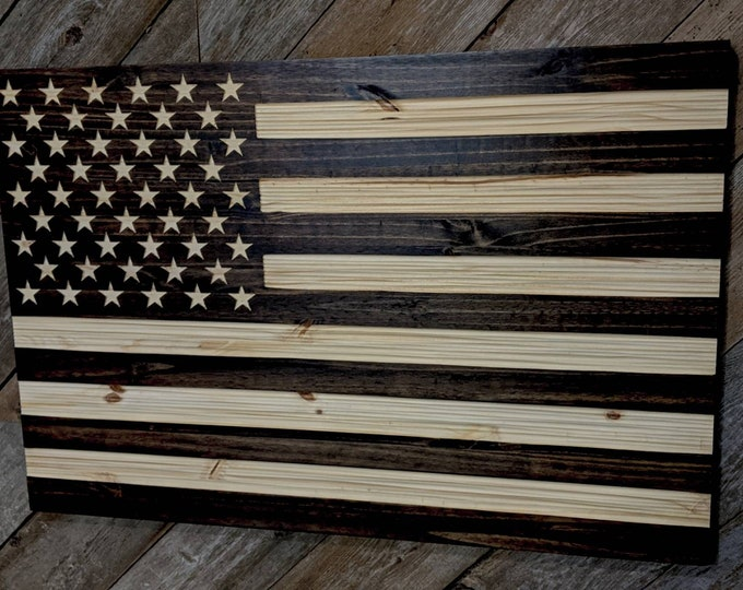 Wooden American Flag  with chisel texture,Rustic flag Wooden flag, American flag, Veteran Made FREE Shipping