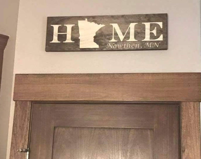 Minnesota Carved Home Sign with optional City engraved great house warming gift