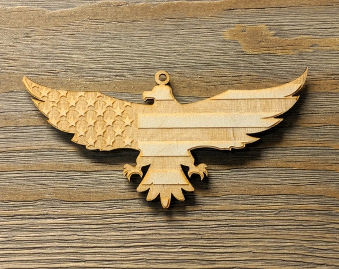 Flag Ornament: Wooden Eagle cutout flag Christmas ornament Police Officer Christmas Ornament  Gift for Police Gift for Law Enforcement