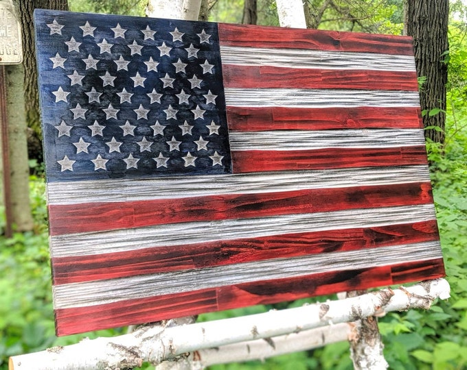 US Flag carved in wood distressed Red, White and Blue colors with unique chisel texture. Rustic flag. Veteran made in the US.