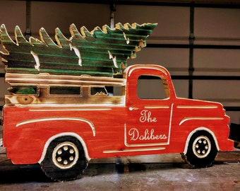 Vintage Wooden Red Truck with Christmas Tree sign personalized with family name