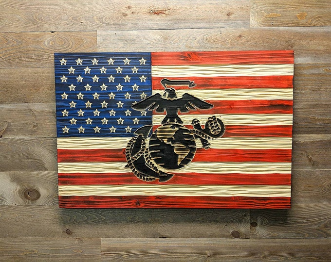 United States Flag with New USMC Marine Corps EGA carved in wood. Semper Fi. FREE Shipping.