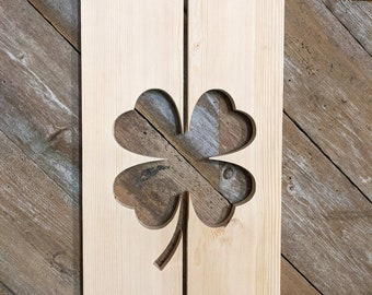 Exterior Clover Shutter made of Pine perfect for your Cabin, cottage, or beach house decor
