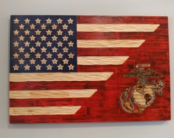 United States Flag with USMC Marine Corps EGA carved in wood. Semper Fi. FREE Shipping.