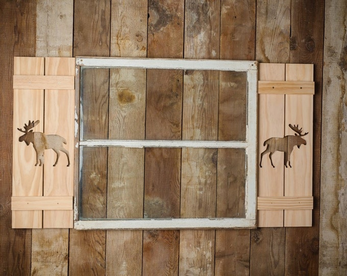 Exterior Moose Shutter made of Pine perfect for your Cabin, cottage, or beach house great rustic northwoods decor