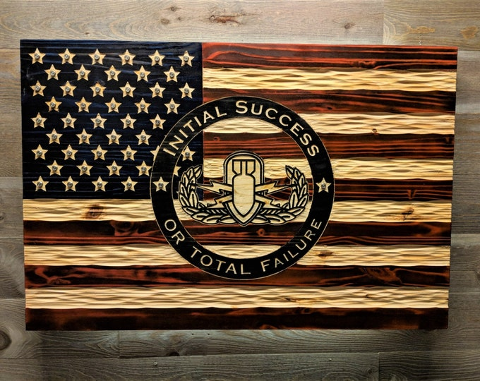 Wooden American/EOD  Flag with chiseled texture, rustic USA Flag. Free Shipping. Veteran Made in USA