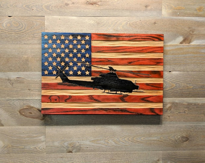 Custom Carved Flags with Helicopter overlaid on Red, White and Blue