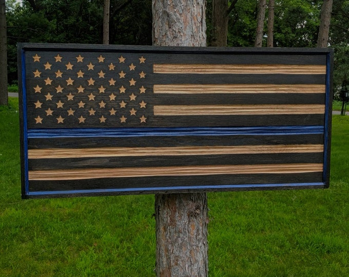Thin Blue Line Law Enforcement Flag carved in Oak