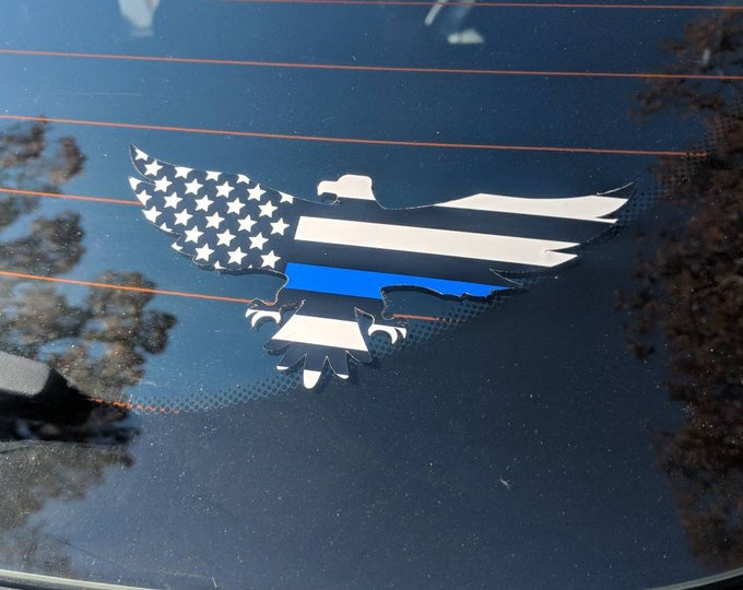 Thin Blue Line Law Enforcement Eagle Decal Sticker