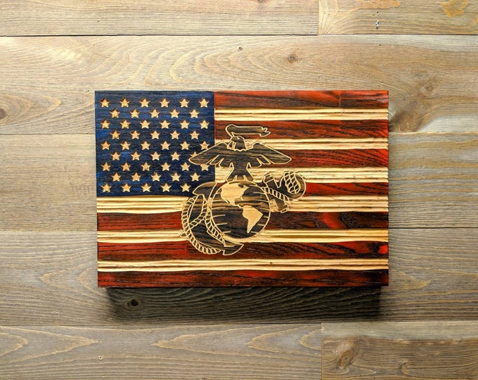 USMC America Flag wall art, best selling items handmade, carved rustic flag, Veteran gifts, United States Marine Corps EGA, military