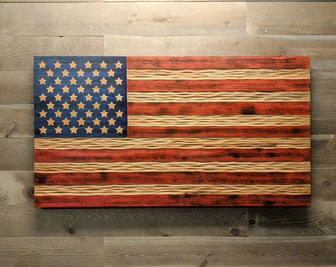 "Carved Oak Rustic Flag. 24x44"" hardwood executive flag themed wall art. Veteran carved."
