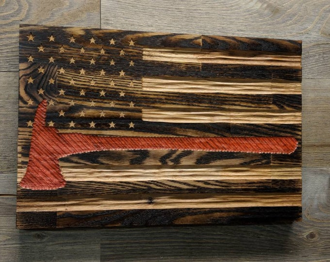 Thin Red Line Flag, wood american flag wall art, best selling items wood wall art, firefighter retirement gift, US flag wood