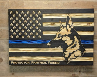 Thin Blue Line K9 Carved wooden American flag with unique chisel texture.