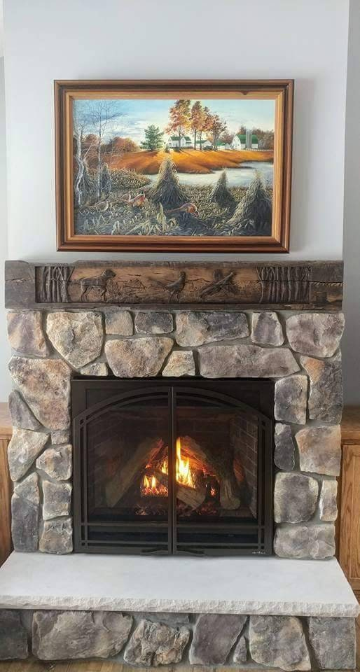 Rustic Carved Fireplace Mantel Reclaimed Barn Wood Beam