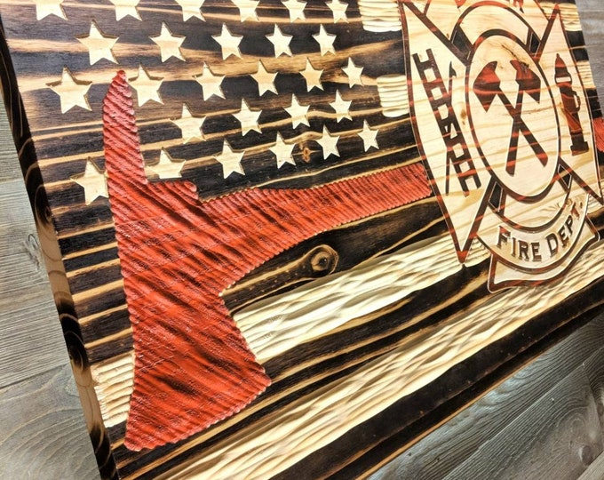 Flame Charred Fire Fighters Thin Red Line Chiseled USA rustic flag with Fire Cross.