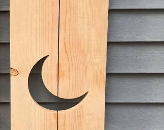 Exterior Crescent Moon Shutter made of Pine perfect for your Cabin, cottage, or beach house great rustic northwoods decor