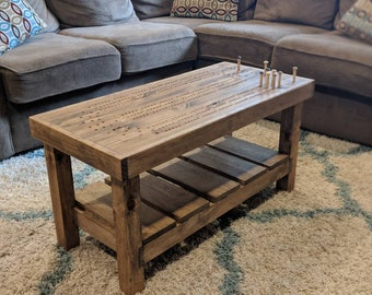 Cribbage Board Coffee Table with wooden Pegs & Storage Compartment, beautiful rustic style Cabin Furniture
