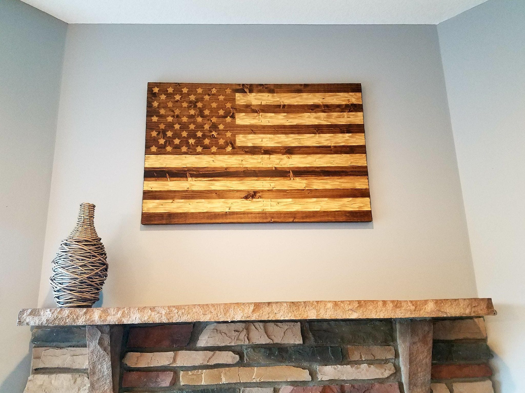 Wooden American Flag With Chisel TextureRustic Veteran Made FREE Shipping