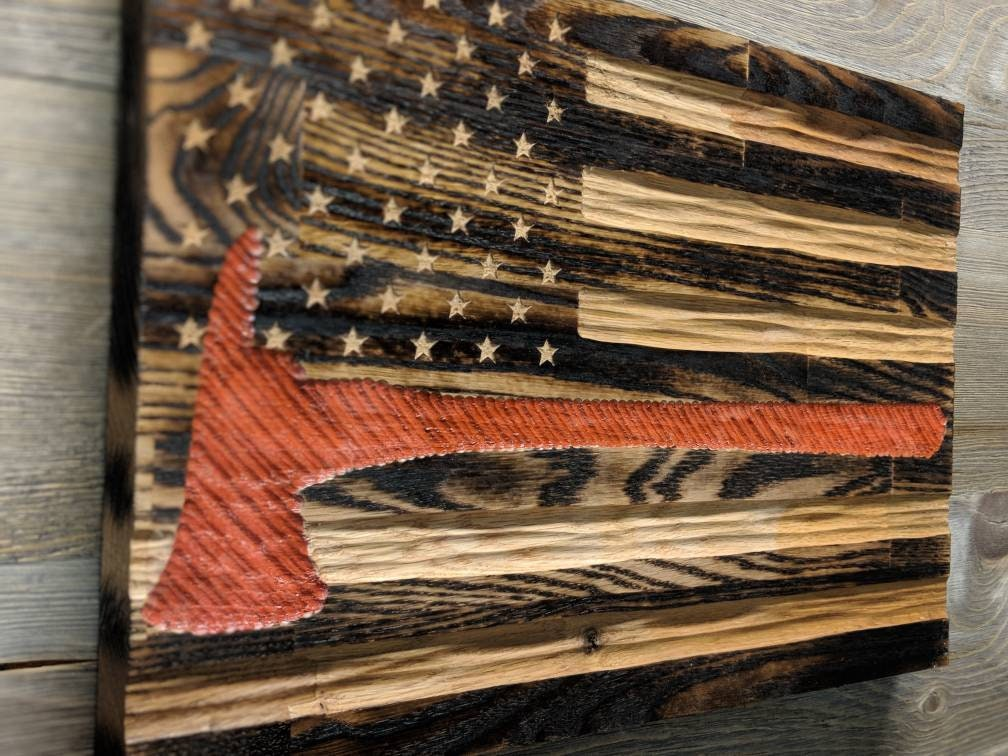Thin Red Line Flag Wood American Flag Wall Art Best Selling Items