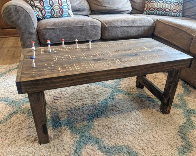 Cribbage Coffee Table with 3 player track and pegs READY to ship