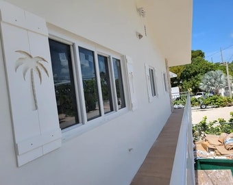 PVC palm tree Exterior Shutter: Customize your shutter height