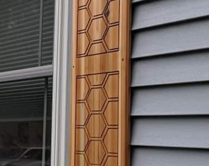 Cedar Shutter with hexagon pattern Customize your shutter height