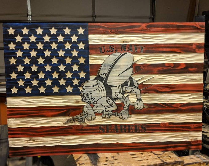 NEW United States Flag with  Seabee Emblem carved in wood. FREE Shipping.