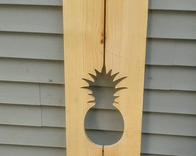 Exterior Pineapple Shutter made of Pine perfect for your Cabin, cottage, or beach house great rustic northwoods decor