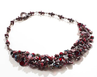 Red Picasso Wire Crochet Statement Necklace